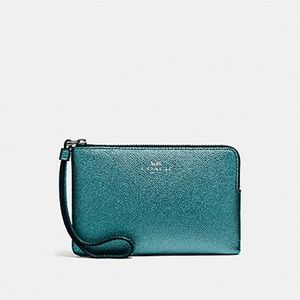 Coach Metallic Dark Teal Wristlet